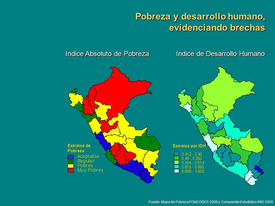 Pobreza y desarrollo humano, evidenciando brechas