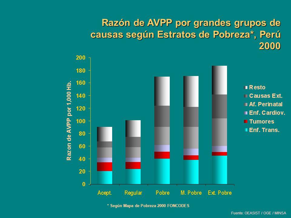 Razón de AVPP por grandes grupos de causas según Estratos de Pobreza