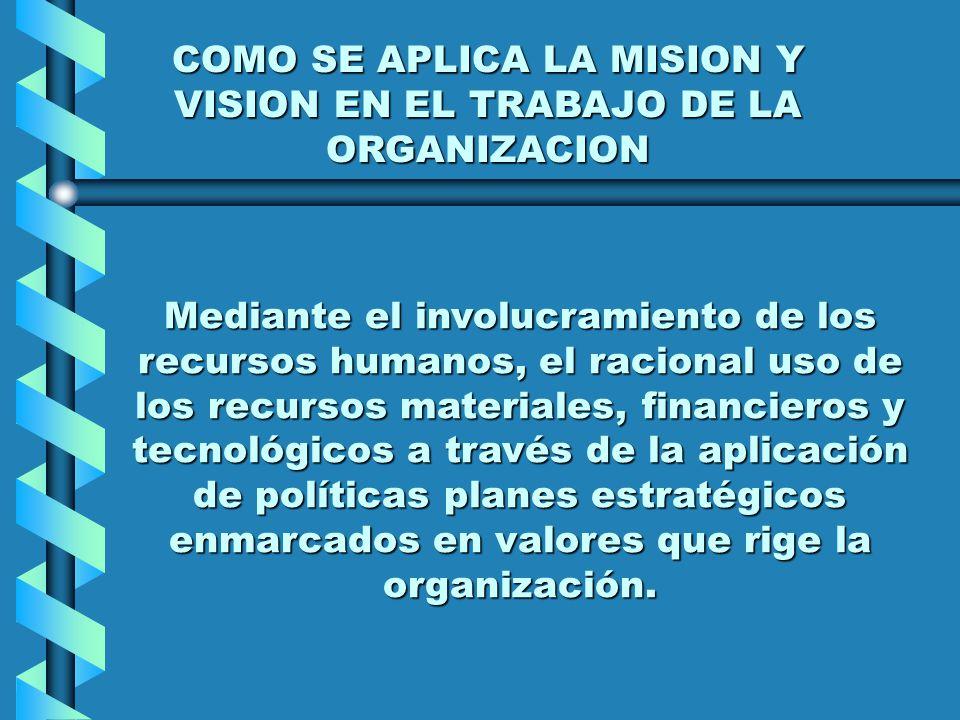 COMO SE APLICA LA MISION Y VISION EN EL TRABAJO DE LA ORGANIZACION