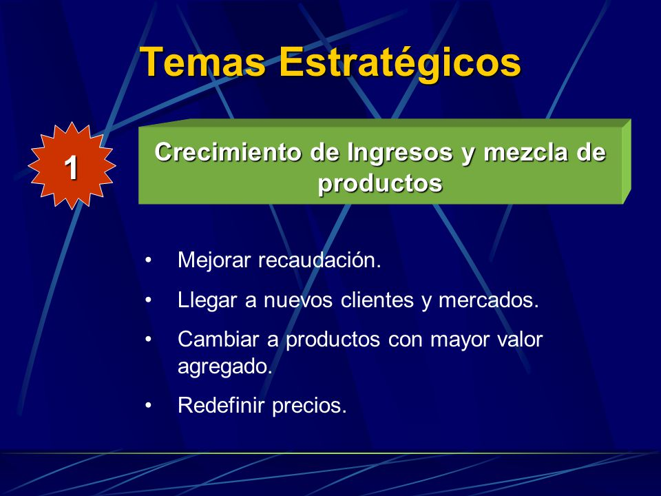 Crecimiento de Ingresos y mezcla de productos