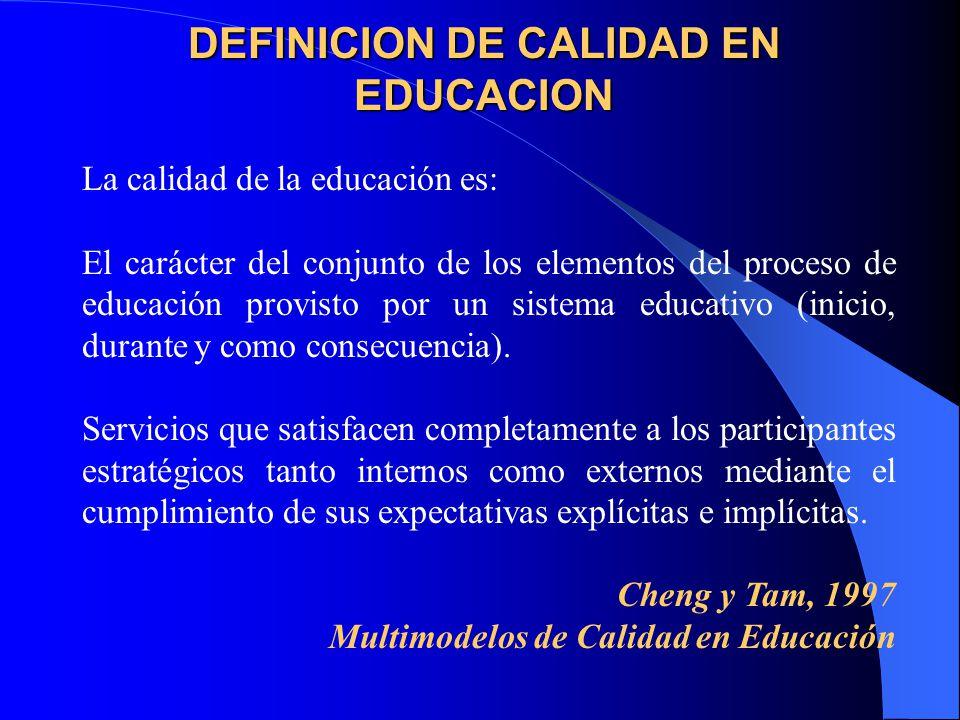 DEFINICION DE CALIDAD EN EDUCACION