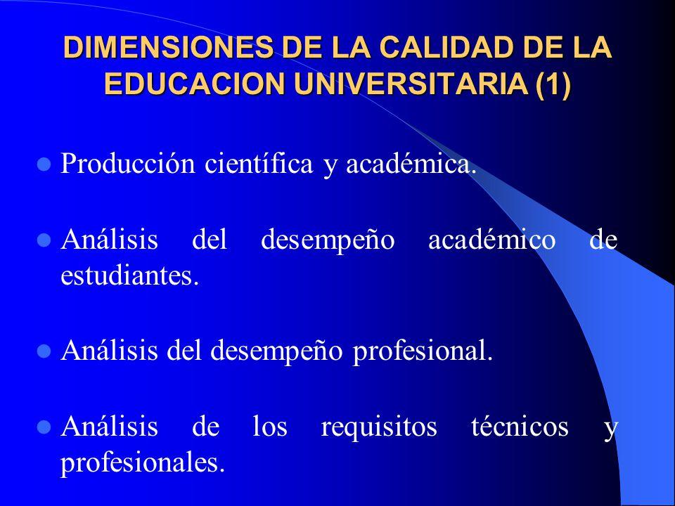 DIMENSIONES DE LA CALIDAD DE LA EDUCACION UNIVERSITARIA (1)