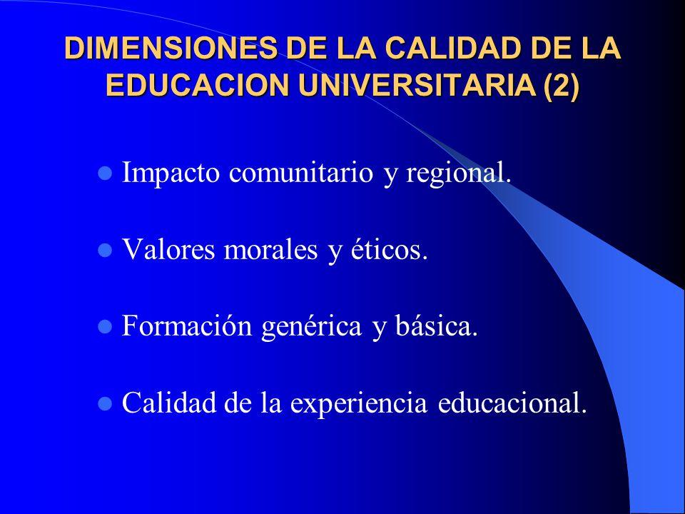 DIMENSIONES DE LA CALIDAD DE LA EDUCACION UNIVERSITARIA (2)