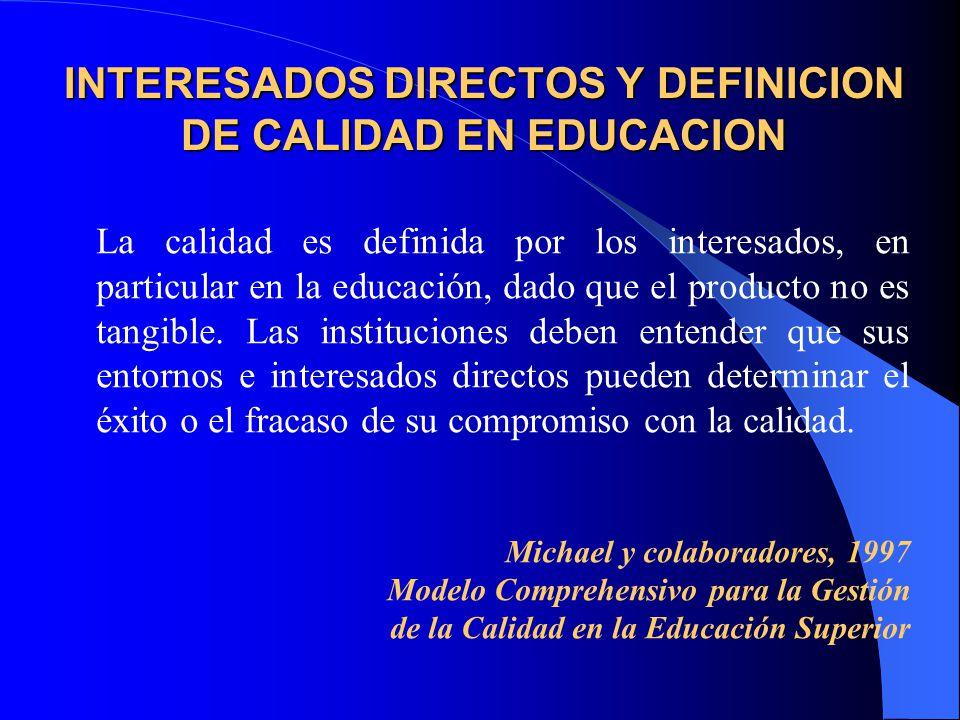 INTERESADOS DIRECTOS Y DEFINICION DE CALIDAD EN EDUCACION