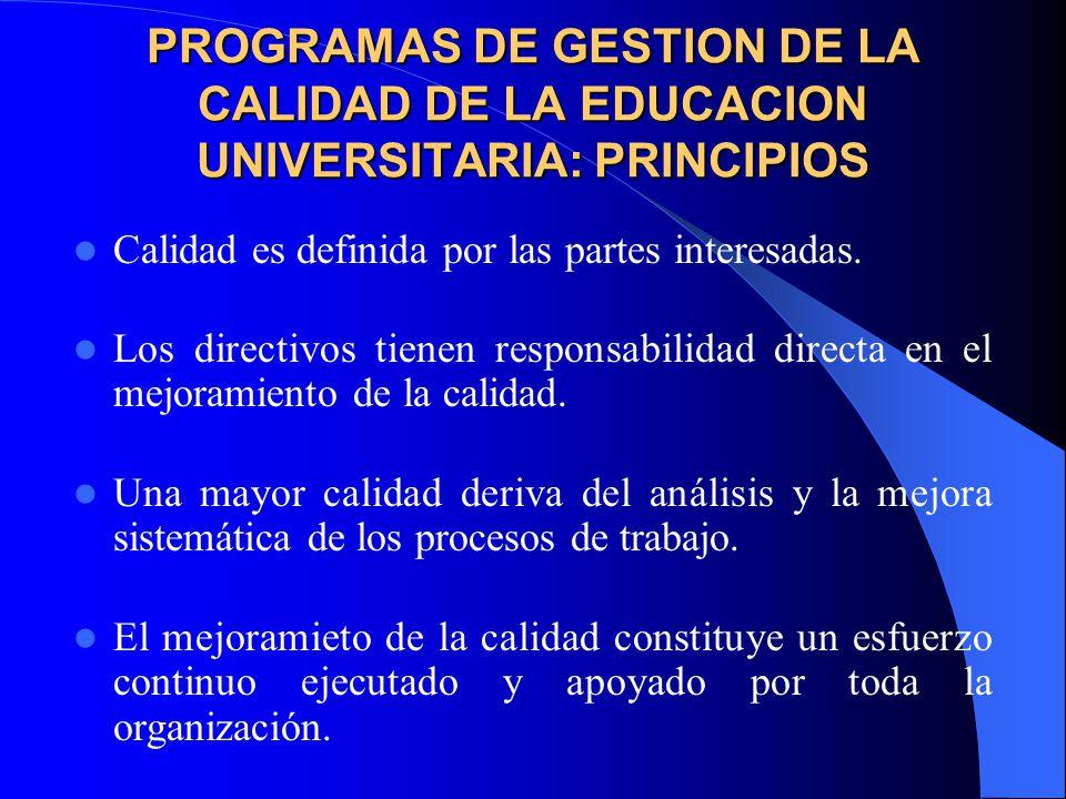 PROGRAMAS DE GESTION DE LA CALIDAD DE LA EDUCACION UNIVERSITARIA: PRINCIPIOS
