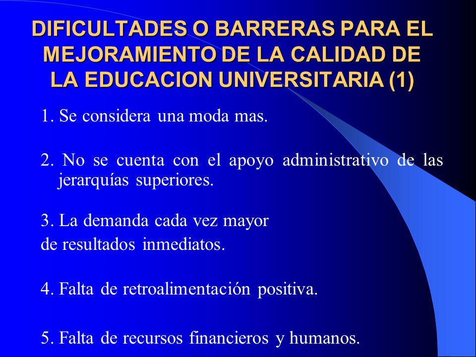 DIFICULTADES O BARRERAS PARA EL MEJORAMIENTO DE LA CALIDAD DE LA EDUCACION UNIVERSITARIA (1)