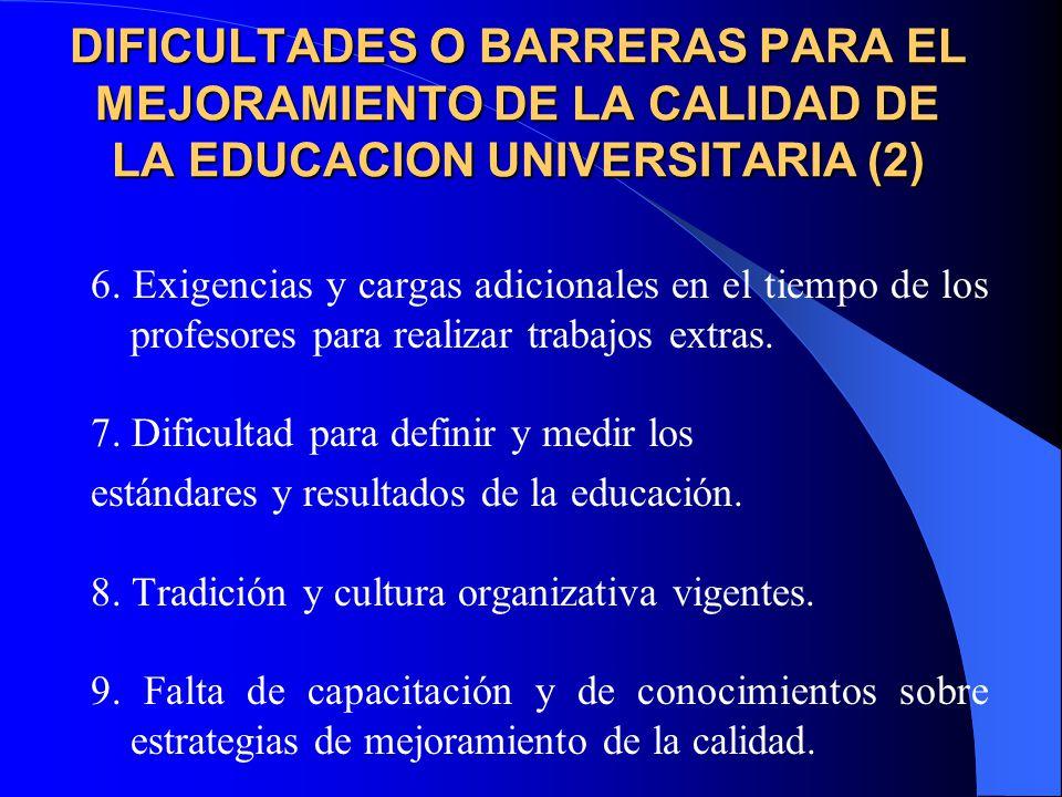 DIFICULTADES O BARRERAS PARA EL MEJORAMIENTO DE LA CALIDAD DE LA EDUCACION UNIVERSITARIA (2)