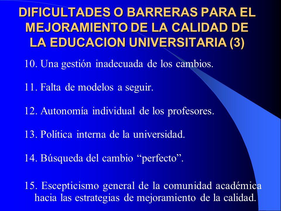 DIFICULTADES O BARRERAS PARA EL MEJORAMIENTO DE LA CALIDAD DE LA EDUCACION UNIVERSITARIA (3)
