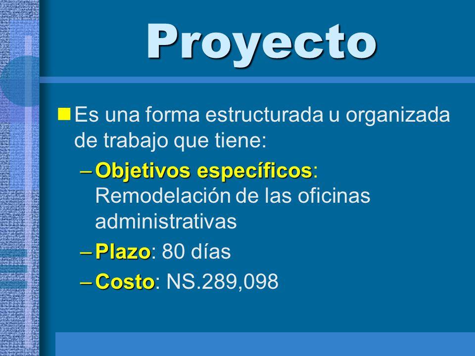 Proyecto Es una forma estructurada u organizada de trabajo que tiene: