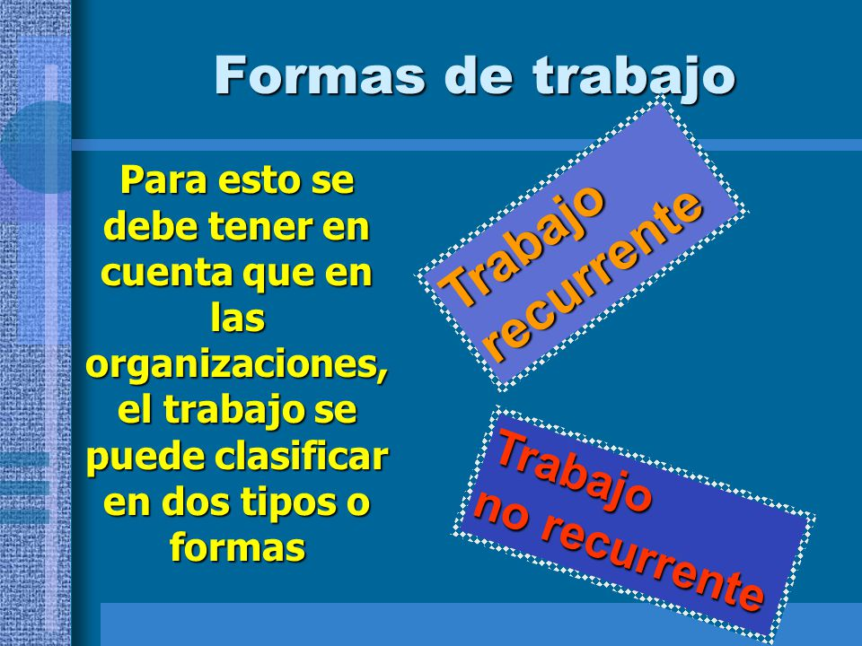 Formas de trabajo Trabajo recurrente Trabajo no recurrente