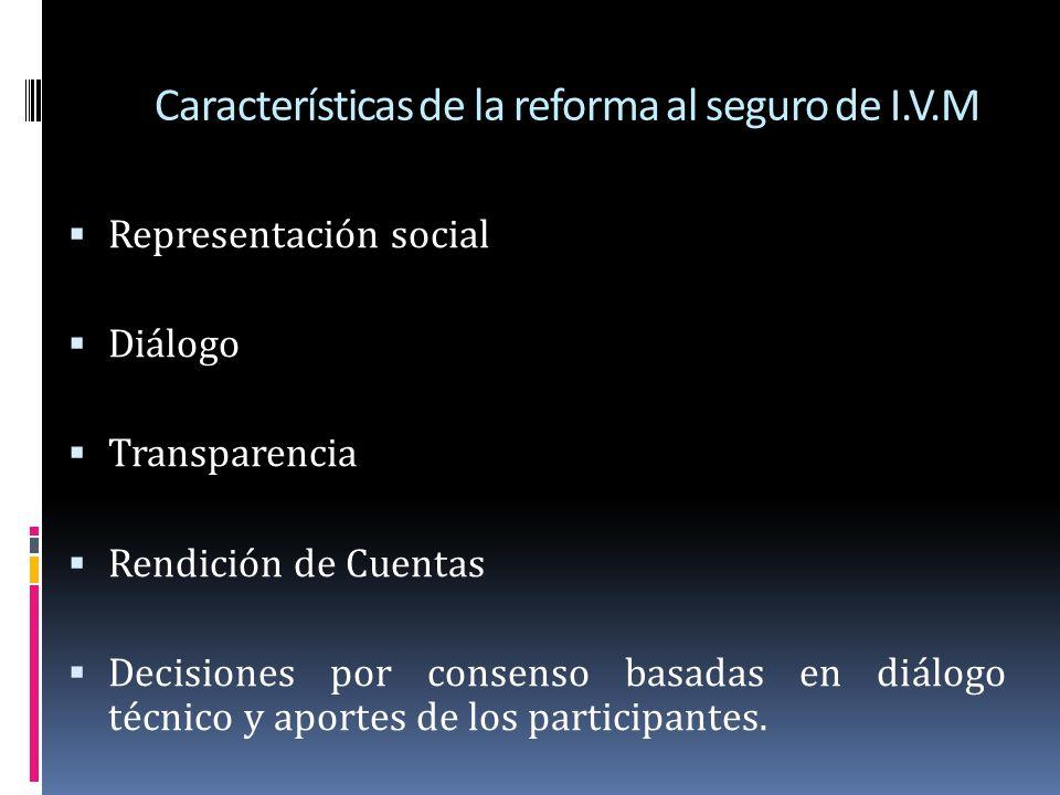 Características de la reforma al seguro de I.V.M