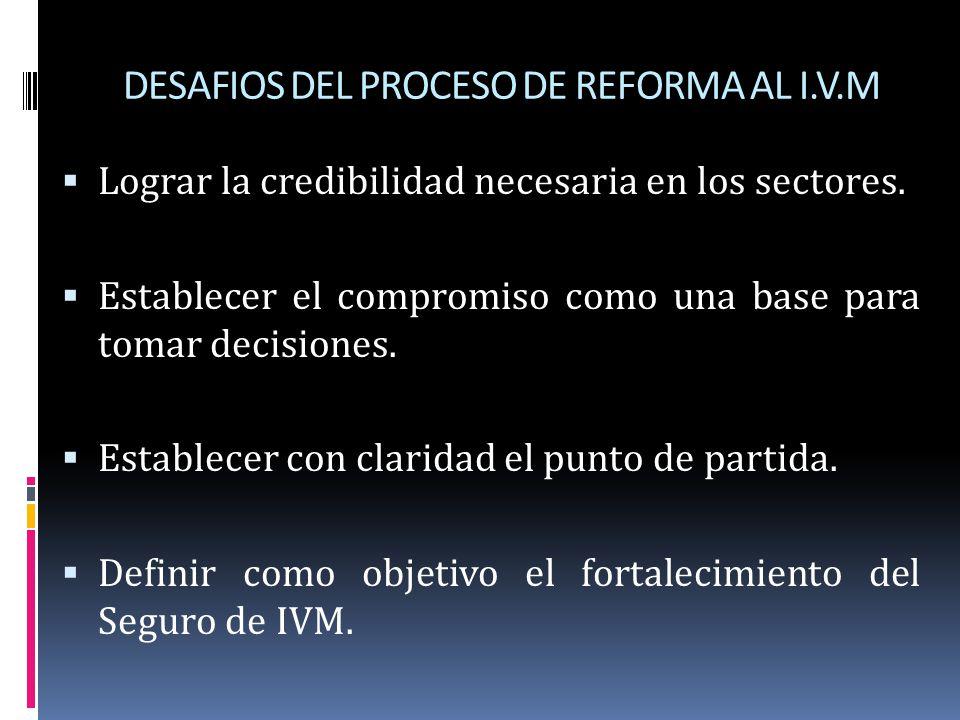 DESAFIOS DEL PROCESO DE REFORMA AL I.V.M