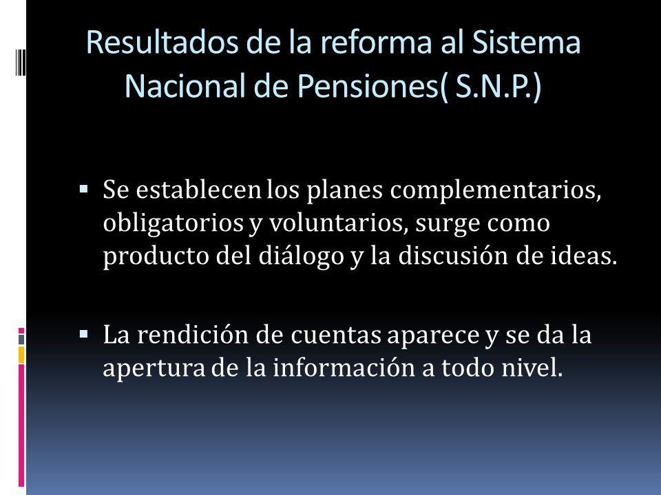 Resultados de la reforma al Sistema Nacional de Pensiones( S.N.P.)