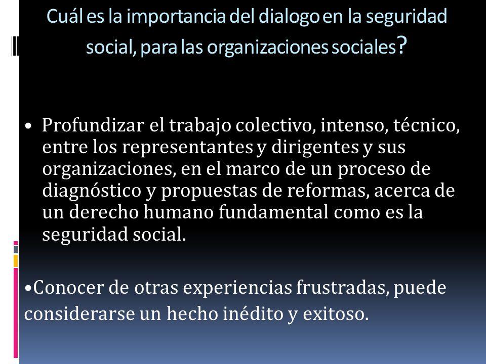 Cuál es la importancia del dialogo en la seguridad social, para las organizaciones sociales