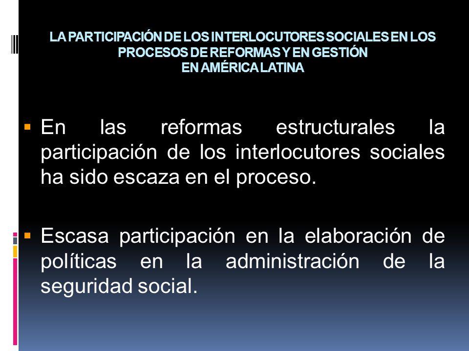 LA PARTICIPACIÓN DE LOS INTERLOCUTORES SOCIALES EN LOS PROCESOS DE REFORMAS Y EN GESTIÓN EN AMÉRICA LATINA
