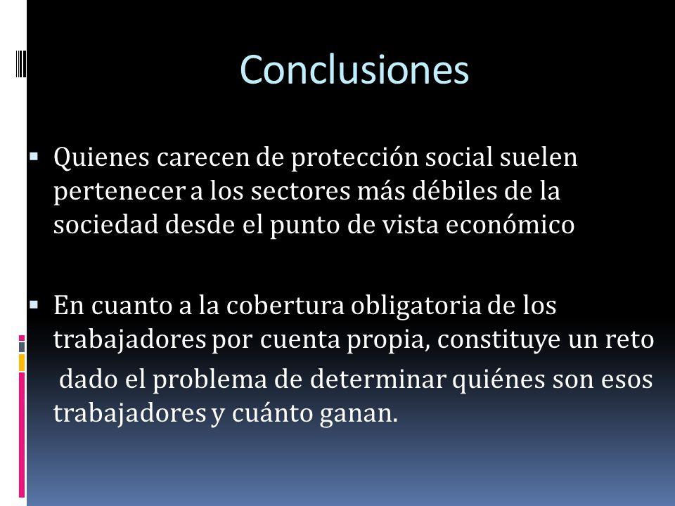 Conclusiones Quienes carecen de protección social suelen pertenecer a los sectores más débiles de la sociedad desde el punto de vista económico.