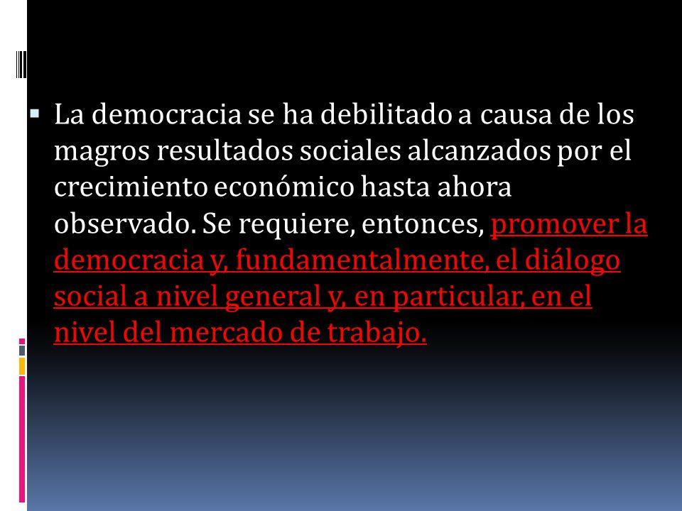 La democracia se ha debilitado a causa de los magros resultados sociales alcanzados por el crecimiento económico hasta ahora observado.