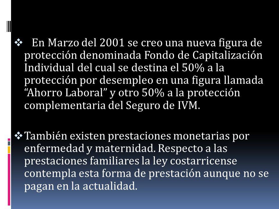 En Marzo del 2001 se creo una nueva figura de protección denominada Fondo de Capitalización Individual del cual se destina el 50% a la protección por desempleo en una figura llamada Ahorro Laboral y otro 50% a la protección complementaria del Seguro de IVM.