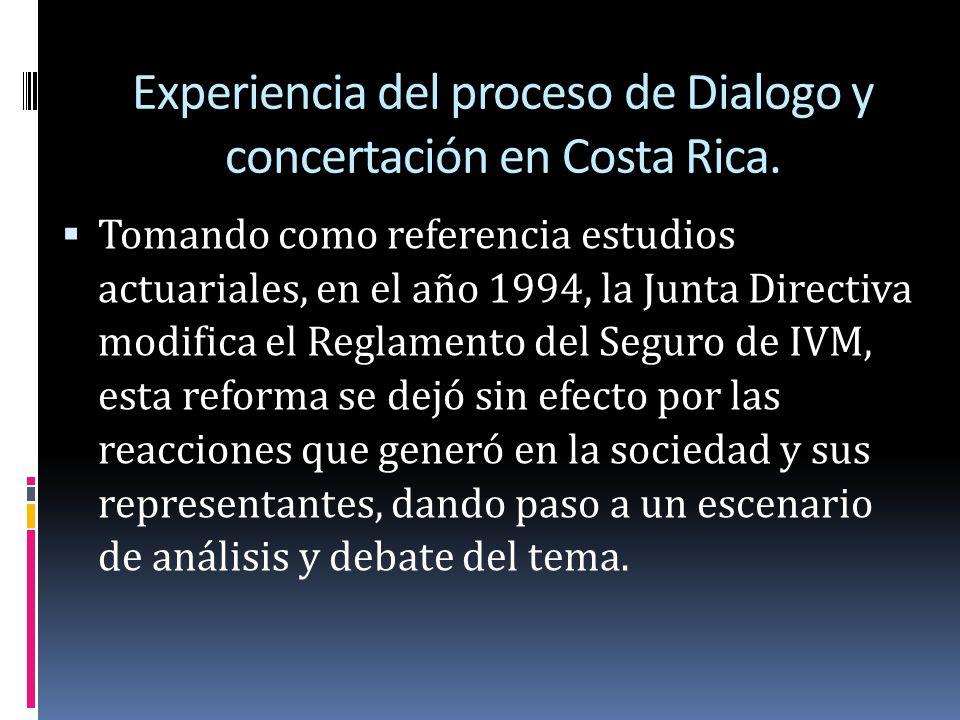 Experiencia del proceso de Dialogo y concertación en Costa Rica.