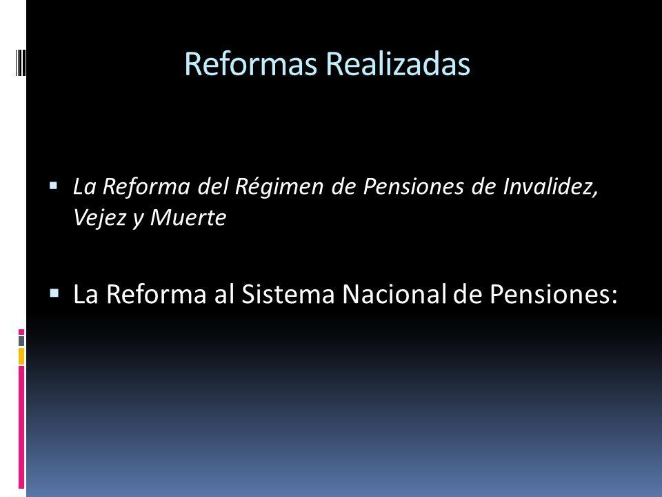 Reformas Realizadas La Reforma al Sistema Nacional de Pensiones: