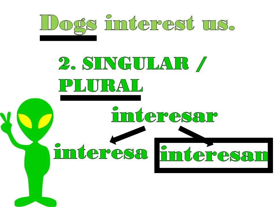Dogs interest us. 2. SINGULAR / PLURAL interesar interesa interesan