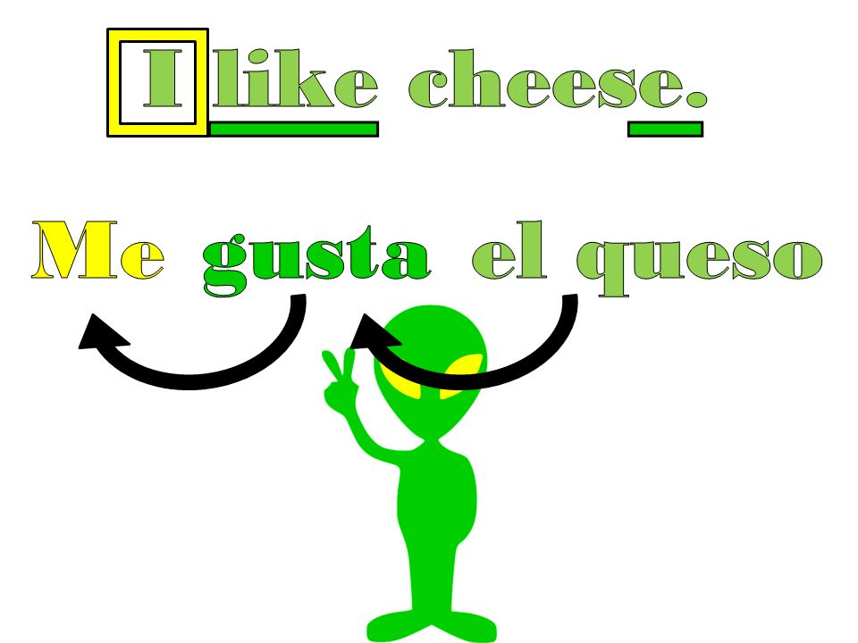 I like cheese. Me gust a el queso