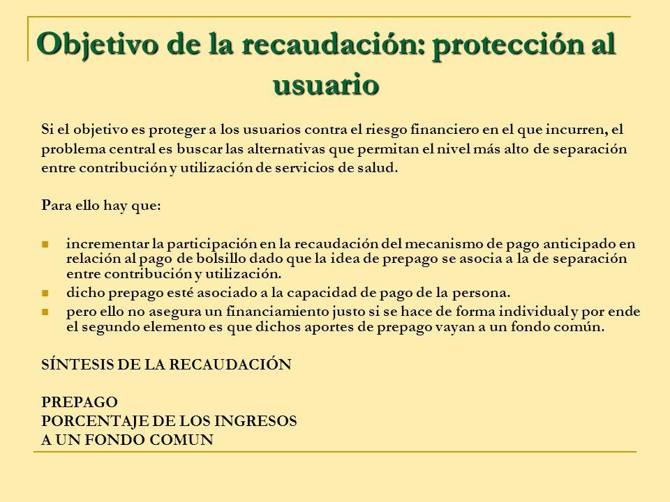 Objetivo de la recaudación: protección al usuario