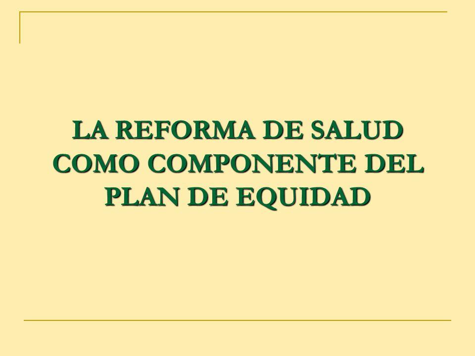 LA REFORMA DE SALUD COMO COMPONENTE DEL PLAN DE EQUIDAD