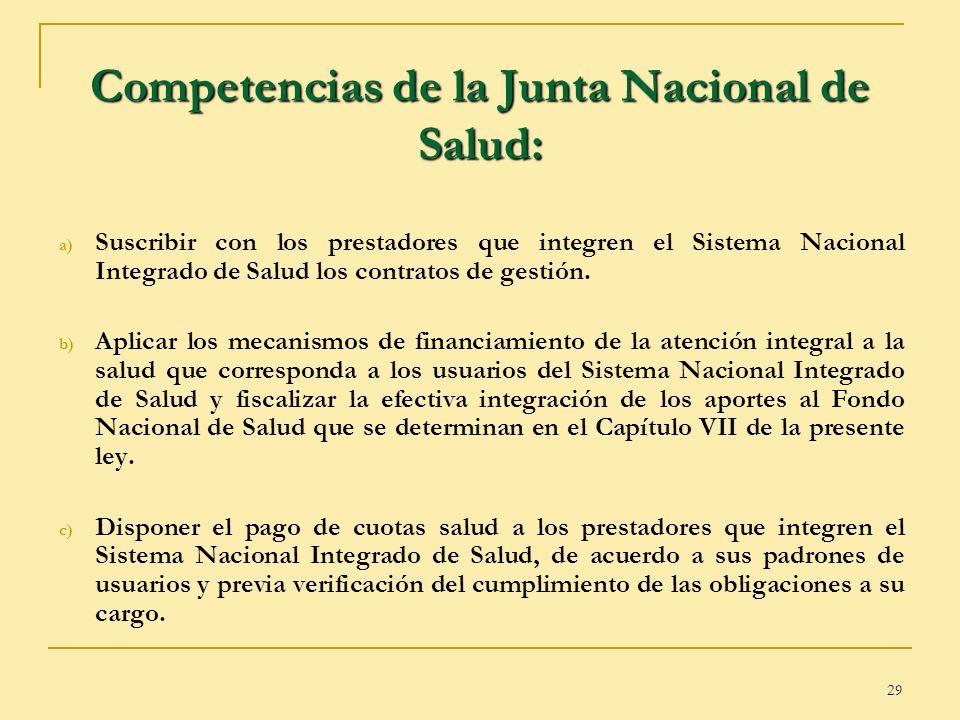 Competencias de la Junta Nacional de Salud: