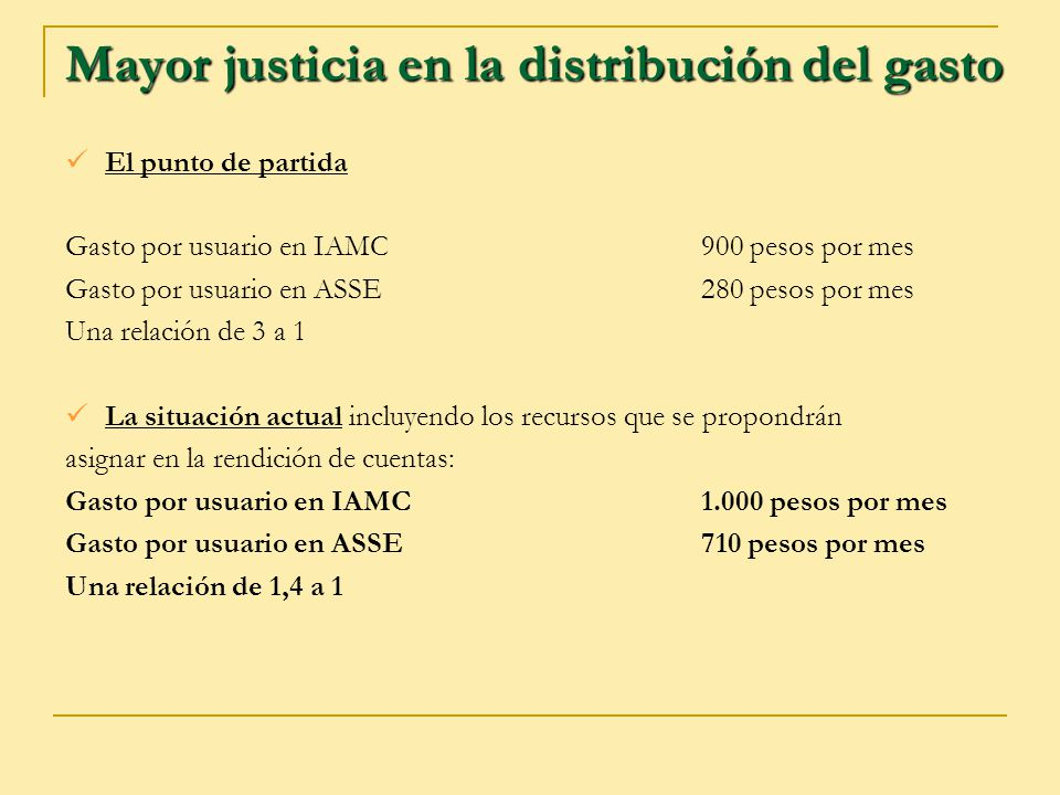 Mayor justicia en la distribución del gasto