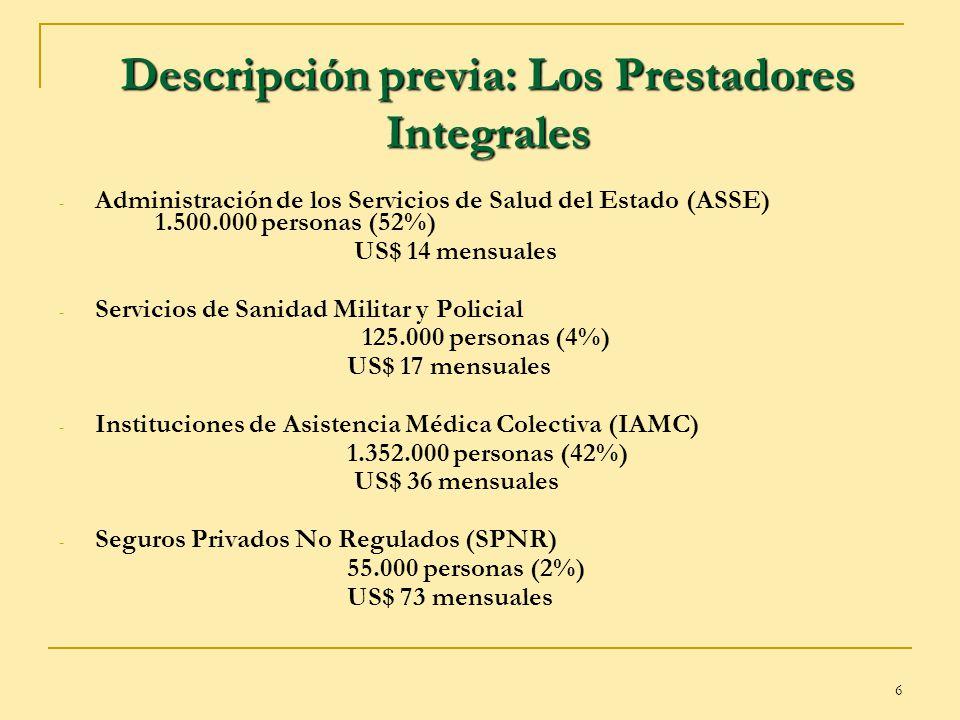 Descripción previa: Los Prestadores Integrales