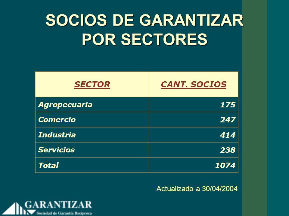 SOCIOS DE GARANTIZAR POR SECTORES