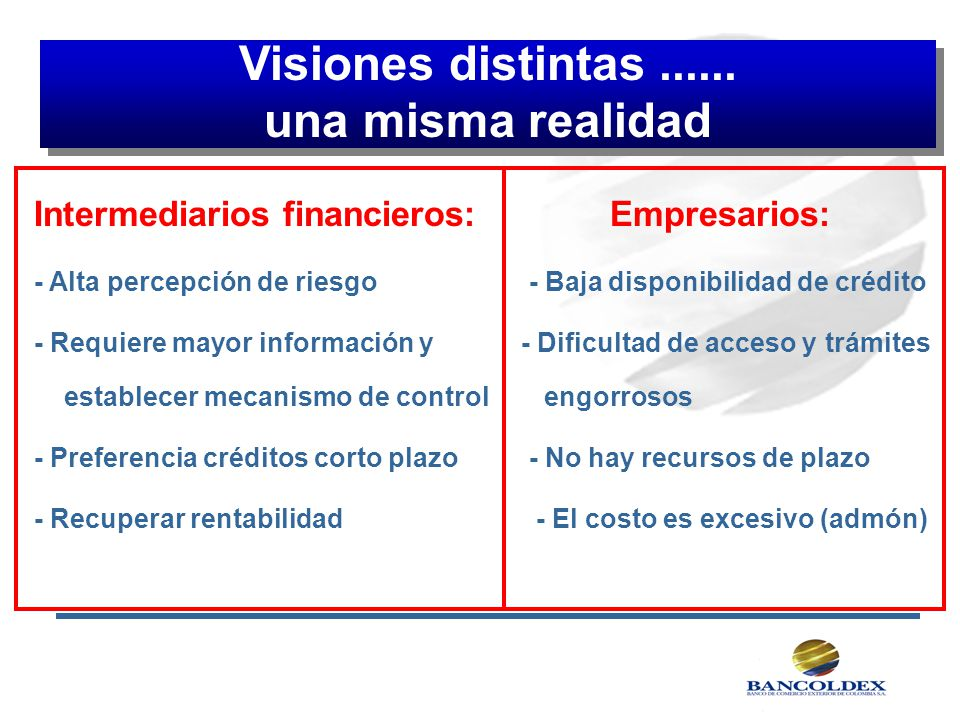 Visiones distintas ...... una misma realidad