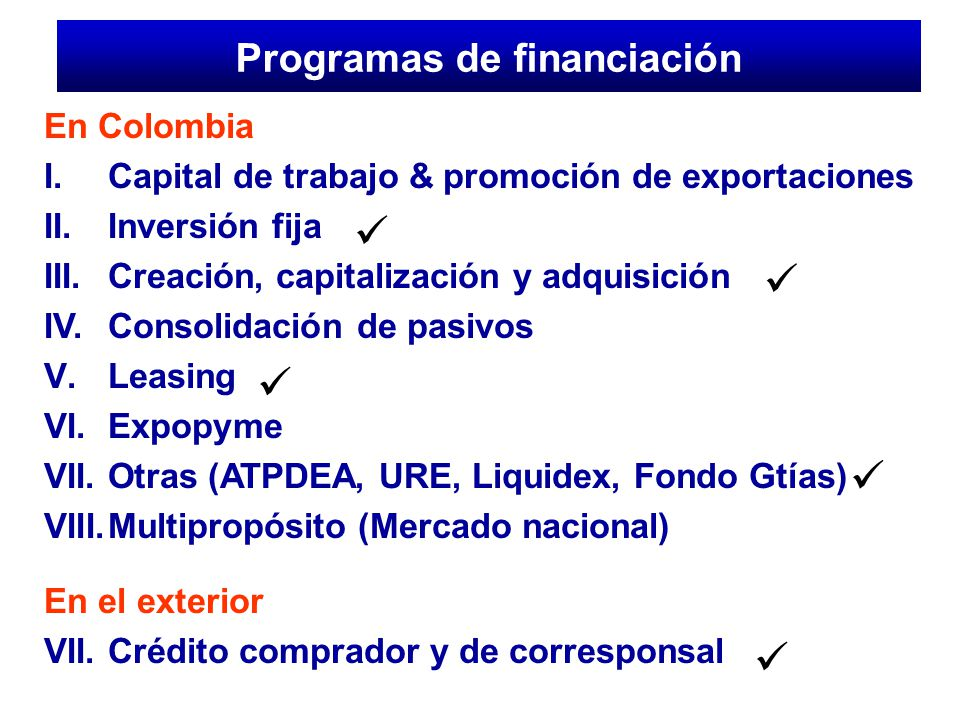 Programas de financiación