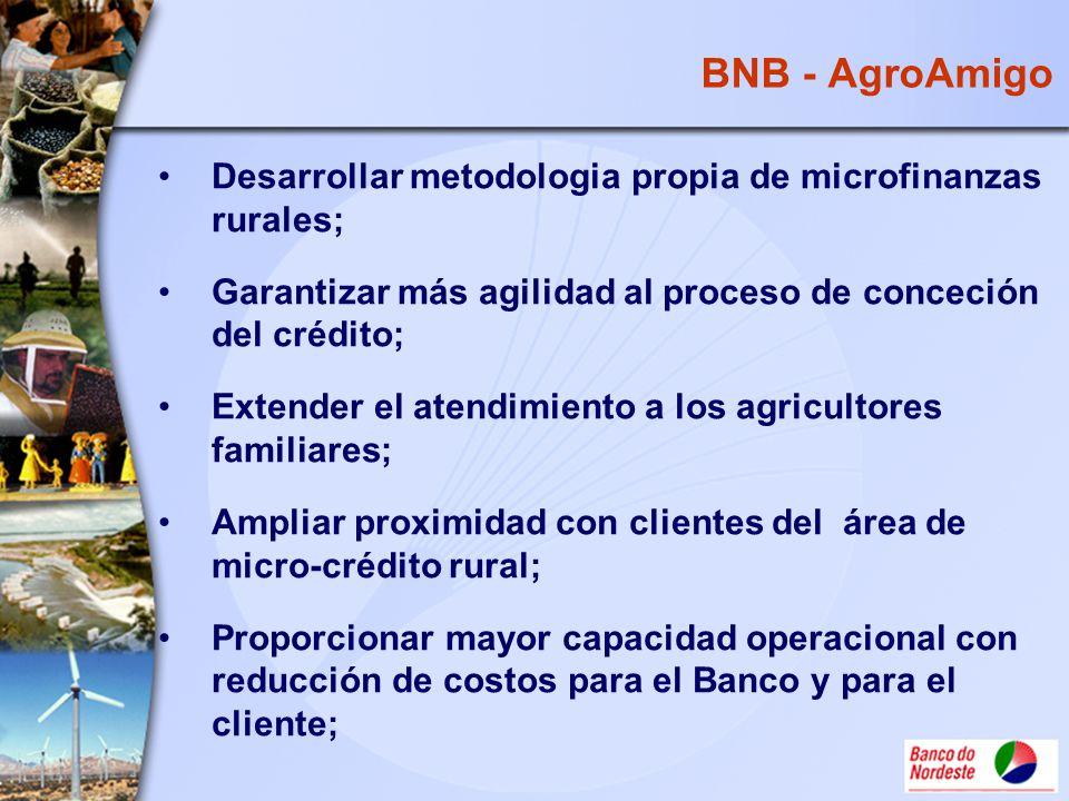 BNB - AgroAmigo Desarrollar metodologia propia de microfinanzas rurales; Garantizar más agilidad al proceso de conceción del crédito;