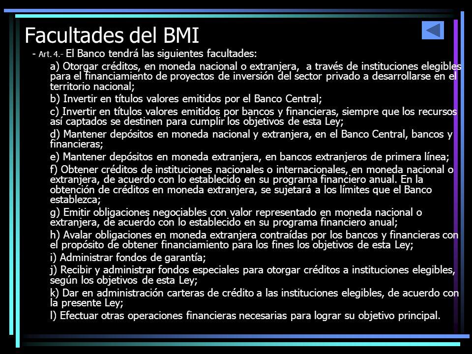 Facultades del BMI - Art. 4.- El Banco tendrá las siguientes facultades: