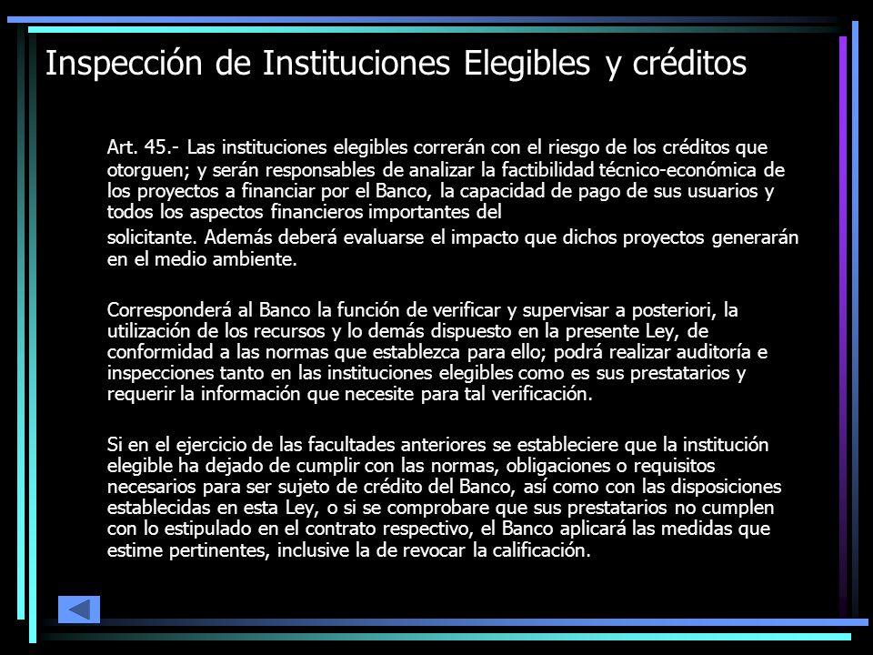 Inspección de Instituciones Elegibles y créditos