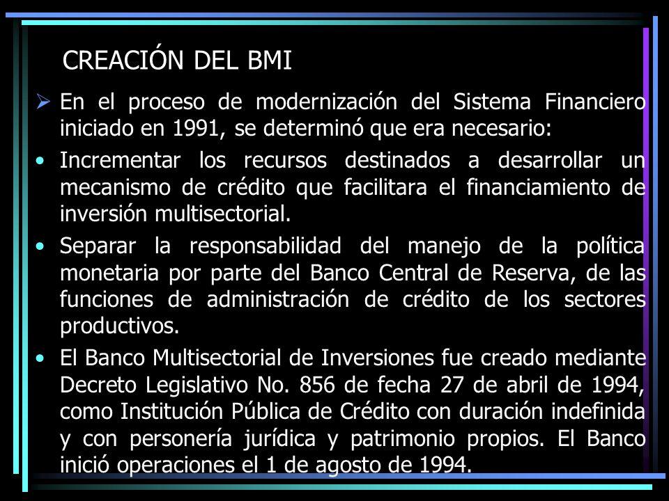 CREACIÓN DEL BMI En el proceso de modernización del Sistema Financiero iniciado en 1991, se determinó que era necesario: