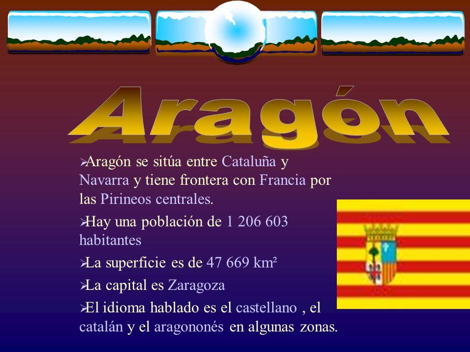 Aragón Aragón se sitúa entre Cataluña y Navarra y tiene frontera con Francia por las Pirineos centrales.