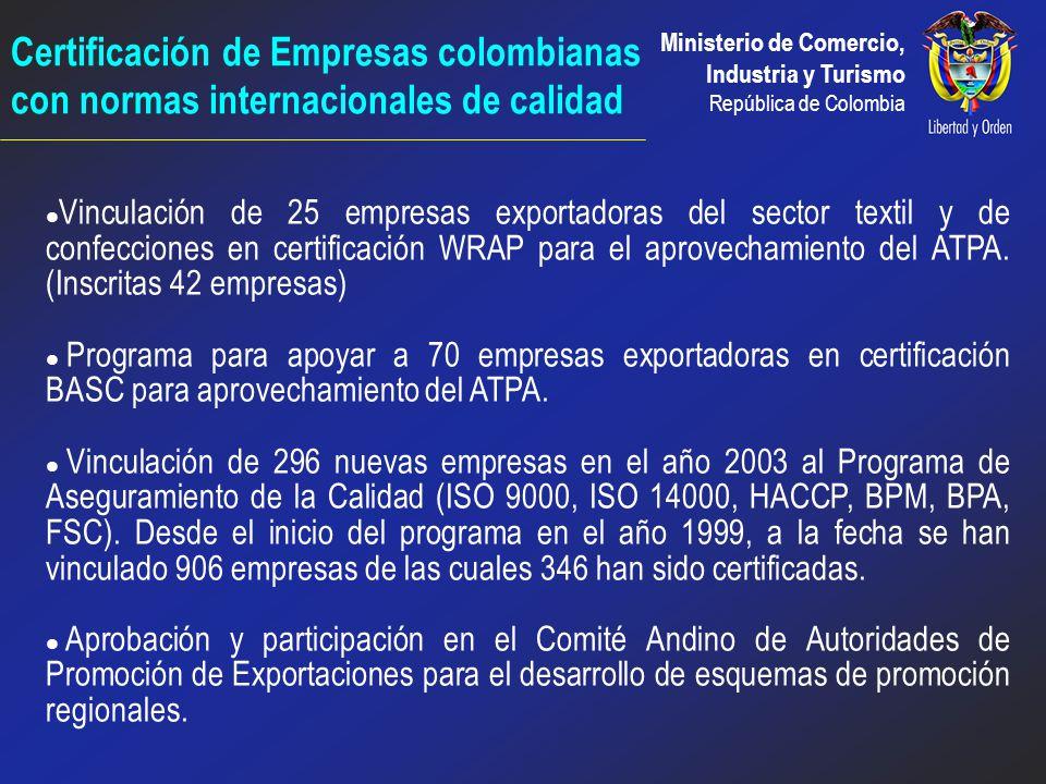 Certificación de Empresas colombianas con normas internacionales de calidad