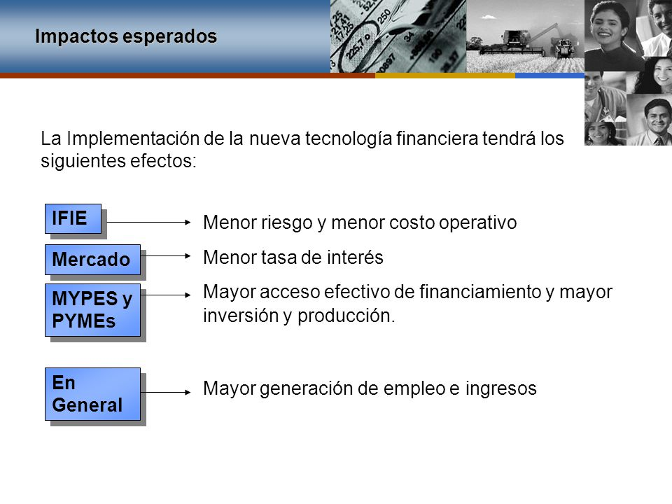 Impactos esperados La Implementación de la nueva tecnología financiera tendrá los siguientes efectos: