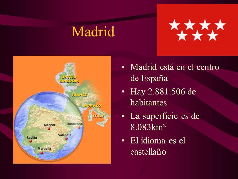 Madrid Madrid está en el centro de España Hay 2.881.506 de habitantes