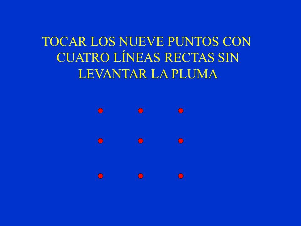 TOCAR LOS NUEVE PUNTOS CON CUATRO LÍNEAS RECTAS SIN LEVANTAR LA PLUMA