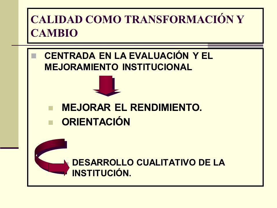CALIDAD COMO TRANSFORMACIÓN Y CAMBIO