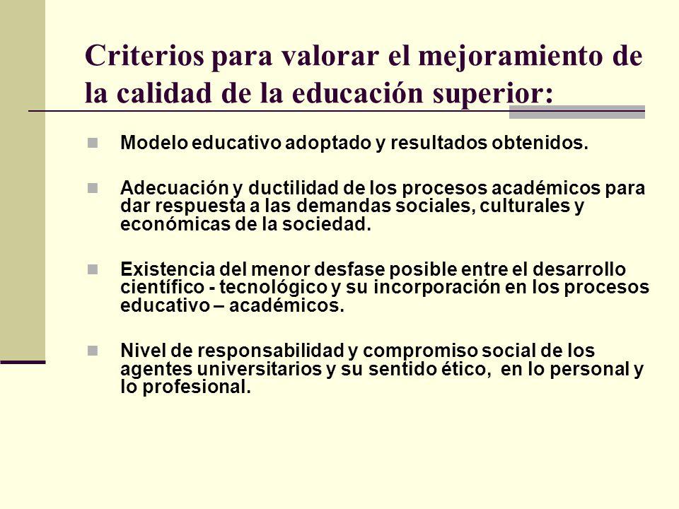 Criterios para valorar el mejoramiento de la calidad de la educación superior: