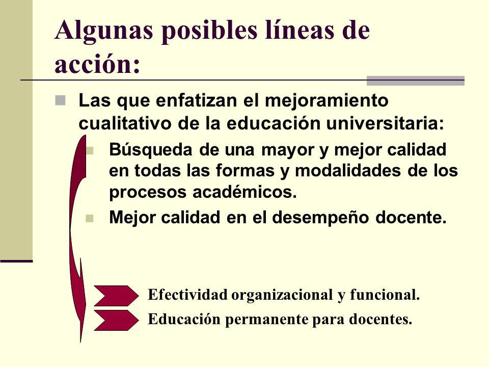 Algunas posibles líneas de acción: