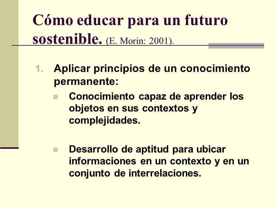 Cómo educar para un futuro sostenible. (E. Morin: 2001).