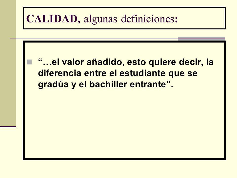 CALIDAD, algunas definiciones: