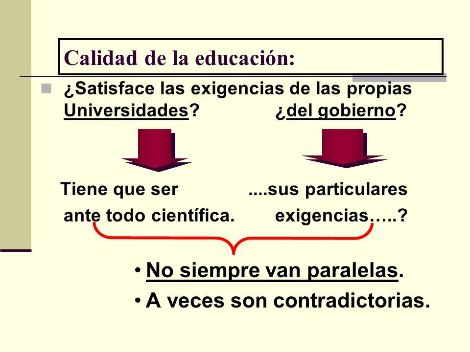 Calidad de la educación: