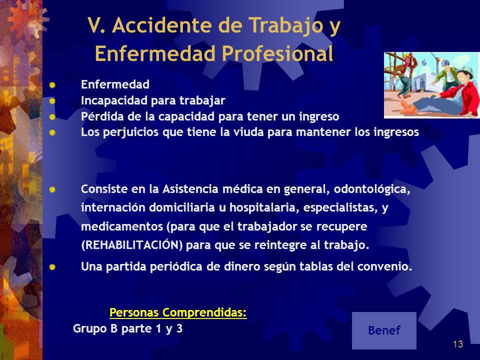 V. Accidente de Trabajo y Enfermedad Profesional